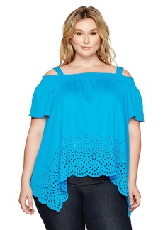 Jones New York Women's Plus Size Novelty Off Shoulder Top