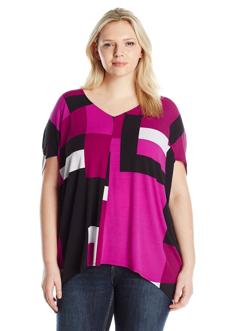 873f8903f3137 Jones New York Women s Plus Size Offset Block Print Cocoon Pullover Blouse