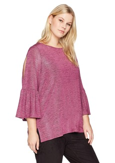 Jones New York Women's Plus Size Open Front Cardigan With Pockets and Cocoon Sleeve