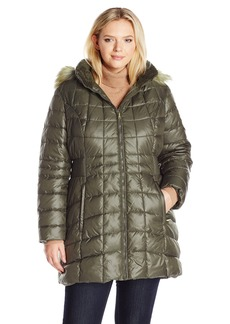 Jones New York Women's Plus Size Polyfill Mid Length Coat With Sherpa Lined Hood