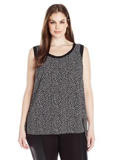 Jones New York Women's Plus Size Printed Hi Lo Cropped Tank