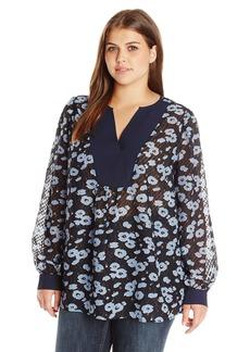 Jones New York Women's Plus Size Romantic Dot Texture Blouse