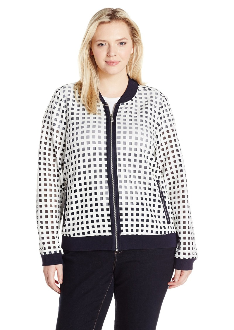 d1cff62fd95 Jones New York Women s Plus Size Scuba Mesh Bomber Jacket J WHT NVY Cbo