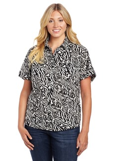 Jones New York Women's Plus-Size Short Sleeve Camp Shirt