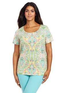 Jones New York Women's Plus Size Short Sleeve Paisley Scoop Neck Top
