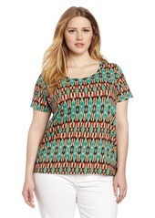 Jones New York Women's Plus Size Short Sleeve Printed Scoop Neck Top