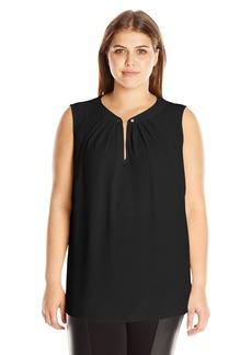 Jones New York Women's Plus Size Sleeveless Top with Chain Detail