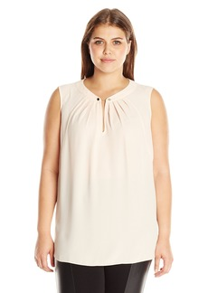 Jones New York Women's Plus Size Sleeveless Top with Chain Detail