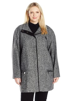 Jones New York Women's Plus Size Snap Front Wool Tweed Coat w/Contrast Trim