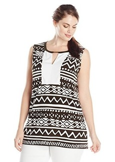 Jones New York Women's Plus-Size Split Front Colorblock Tank