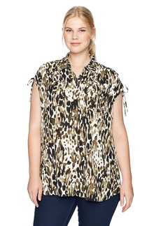 Jones New York Women's Plus Size Summer Leopard PRT Corded Shoulder Top