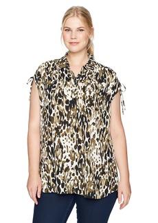 Jones New York Women's Plus Size Summer Leopard PRT Corded Shoulder Top