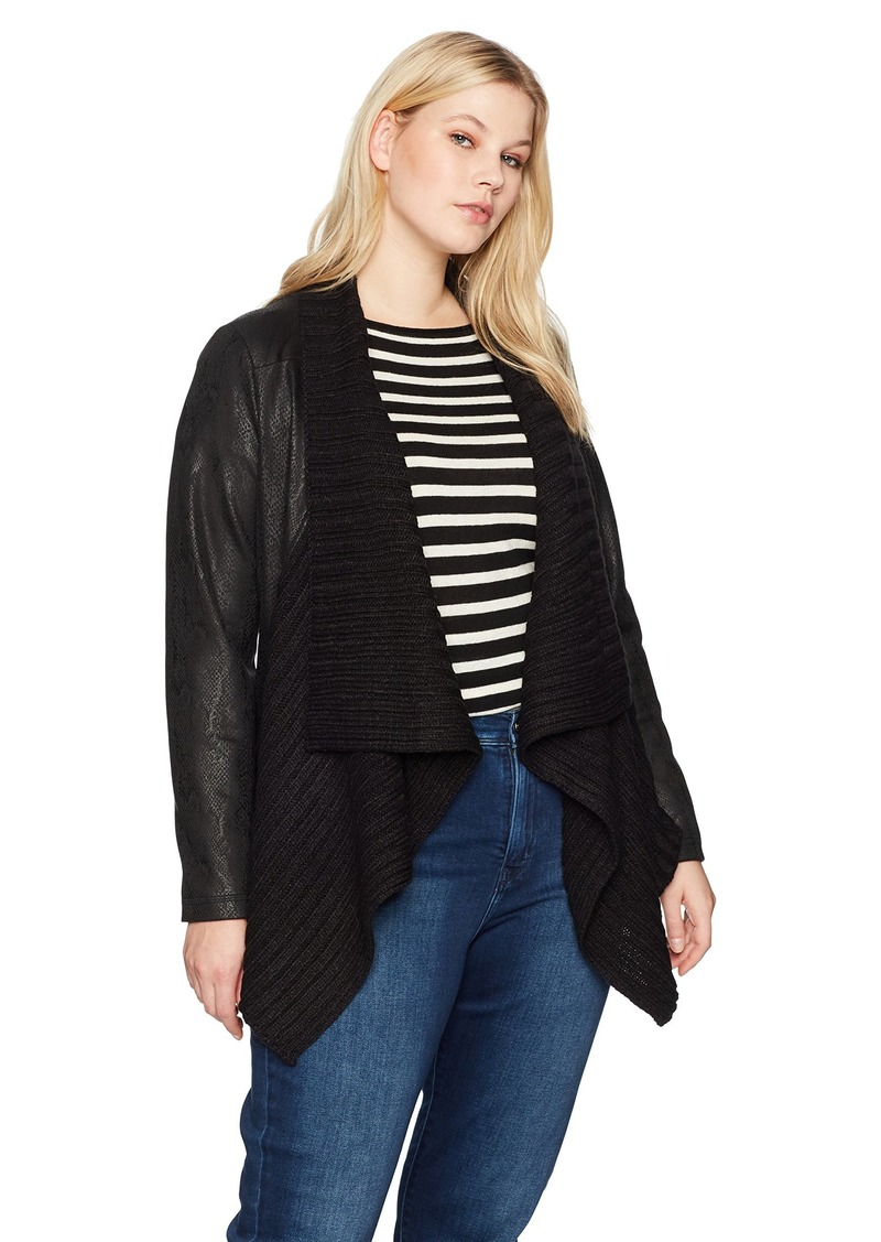 Jones New York Women's Plus Size Sweater Front Moto Jacket