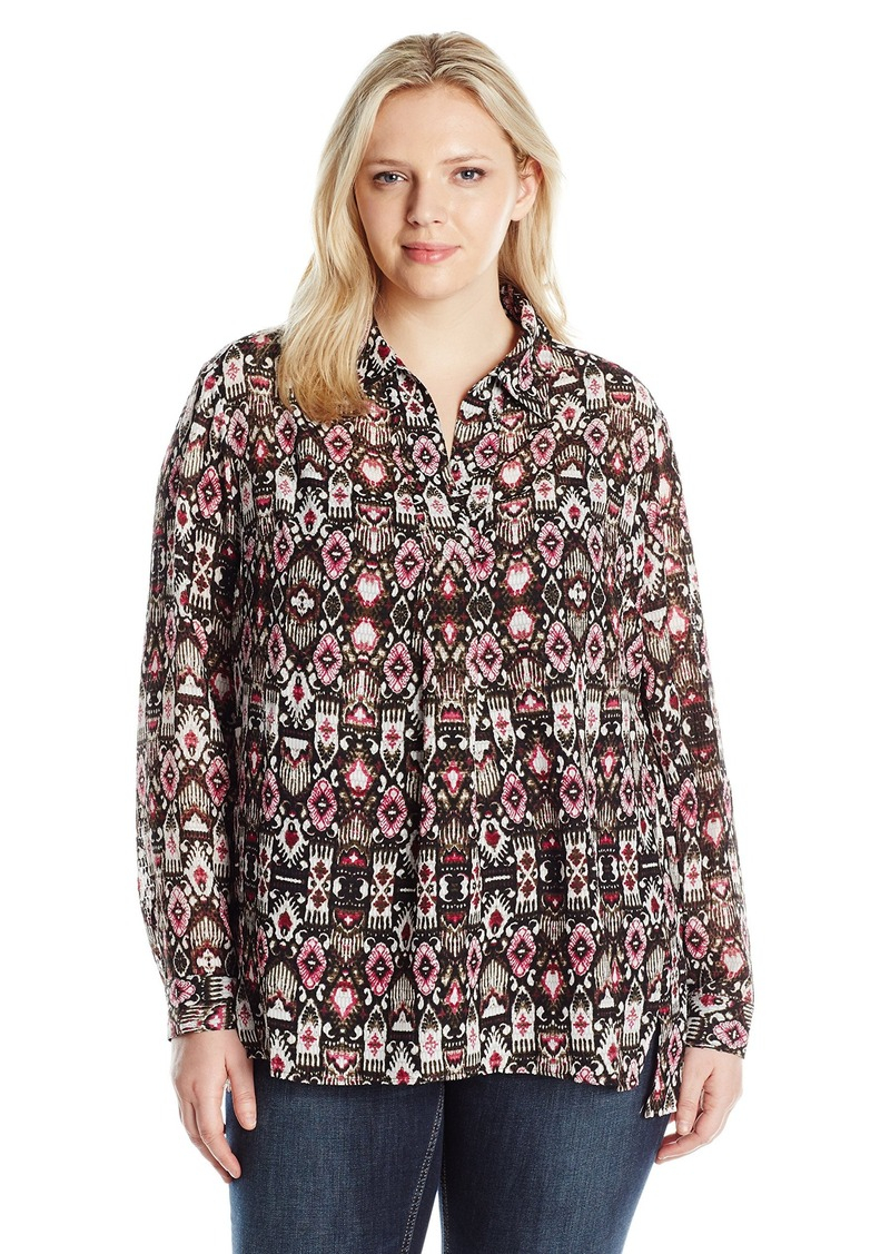 b7cdb37eaf Jones New York Women s Plus Size Tapestry Print Half Placket Popover Blouse