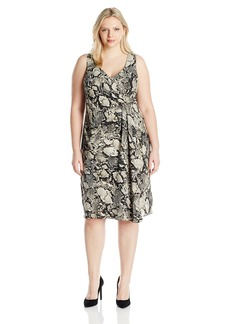 Jones New York Women's Plus Size Viper Print Slvlss Tucked Dress
