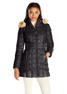 Jones New York Women's Polyfill Mid Length Coat with Sherpa Lined Hood