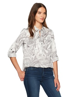 Jones New York Women's Popover Equipment Blouse with Roll SLV  L
