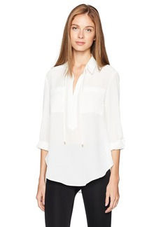 Jones New York Women's Popover Equipment Blouse with Roll SLV  XS