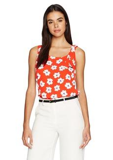 Jones New York Women's Poppy Fields Print Tank W Shoulder Tie  S