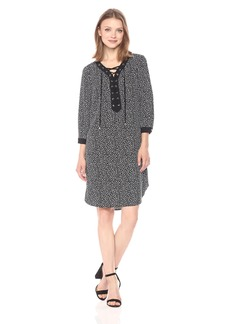 Jones New York Women's Printed Lace up Shirt Dress  L