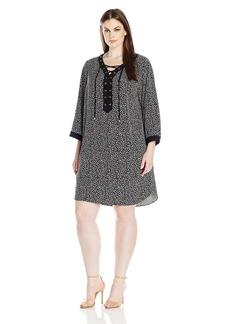 Jones New York Women's Printed Lace up Shirt Dress  M