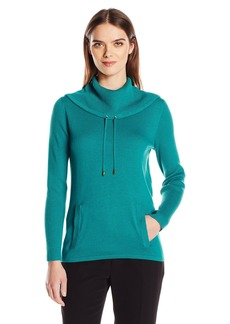 Jones New York Women's Pullover Drawcord Cowl Neck  M