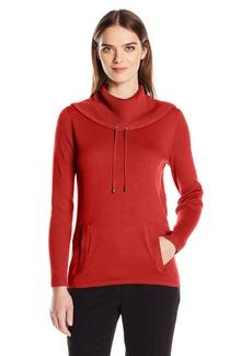 Jones New York Women's Pullover Drawcord Cowl Neck  S