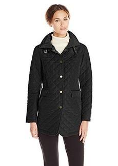 Jones New York Women's Quilted Barn Jacket with Suede Details