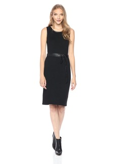 Jones New York Women's Rib Knit Dress with Leather Belt  S
