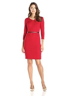 Jones New York Women's Scarlet Ponte 3/4 Sleeve Dress