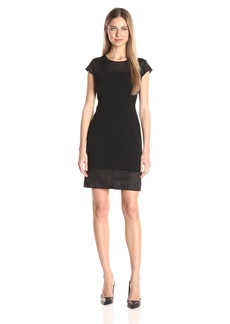 Jones New York Women's Scuba Mesh Sheath Dress