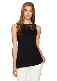 Jones New York Women's Shadow Stripe Handkerchief Hem Tank  M