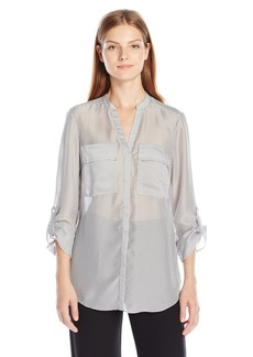 Jones New York Women's Sheer Stripe Roll Tab Shirt
