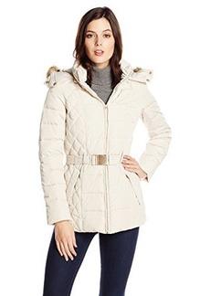 Jones New York Women's Short Down Coat with Belt and Fur Trim Hood
