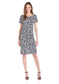 Jones New York Women's Short Sleeve Print Side Draped Shirred  L