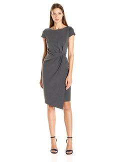 Jones New York Women's Short Sleeve Tucked Ponte Dress