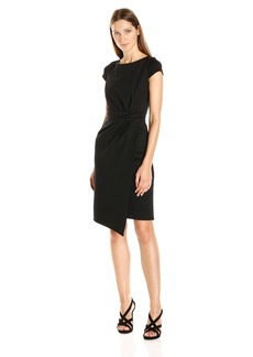 Jones New York Women's Short Sleeve Tucked Ponte Dress