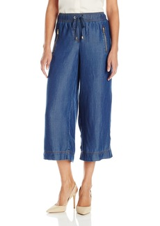 Jones New York Women's Silky Tencel Denim Wide Leg Cropped Pant