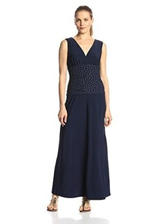 Jones New York Women's Sleeveless Embellished Shirred Waist Maxi Dress