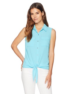 Jones New York Women's Sleeveless Tie Front Button Down  L