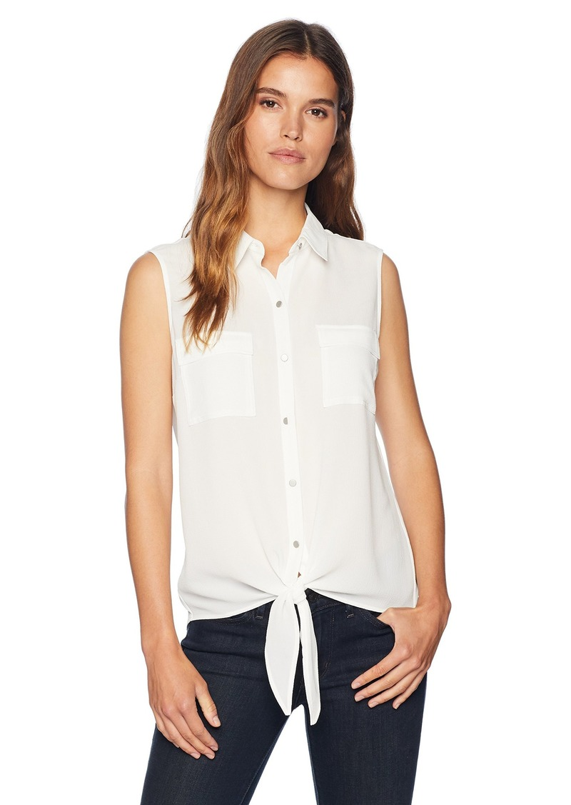 Jones New York Women's Sleeveless Tie Front Button Down  XL