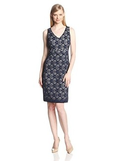 Jones New York Women's Sleeveless V-Neck Lace Sheath Dress