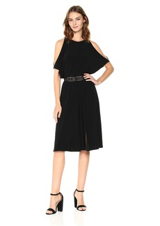 Jones New York Women's Slit Sleeve Solid Wrap Skirt Fit and Flare
