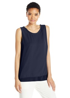 Jones New York Women's Slvlss Mix Media Side Tied Top  L