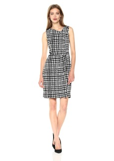 Jones New York Women's Slvlss Print PLT Neck Drape Dress