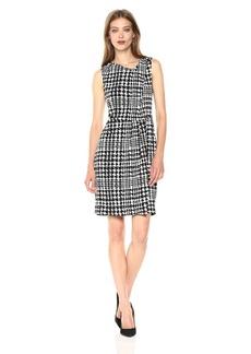 Jones New York Women's Slvlss Print PLT Neck Drape Dress