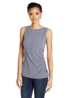 Jones New York Women's Slvlss Print Side Zip+Shirring Top  S