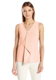 Jones New York Women's Slvlss Ruffle Front Top  S