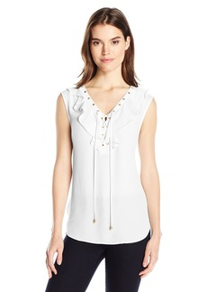 Jones New York Women's Soft Ruffle Laceup Top  L