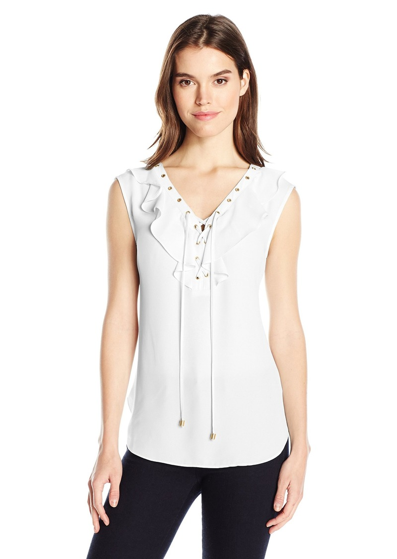 Jones New York Women's Soft Ruffle Laceup Top  S